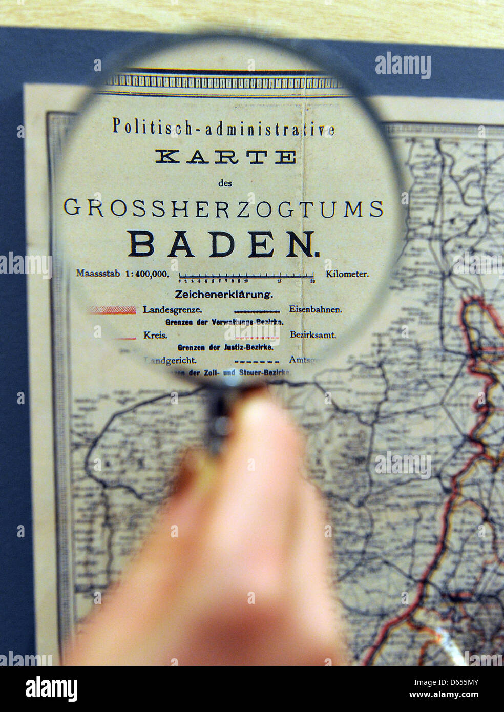 Map Of Germany Karlsruhe Baden.A Visitors Of The Baden State Museum Observes A Map Of Grand Duchy