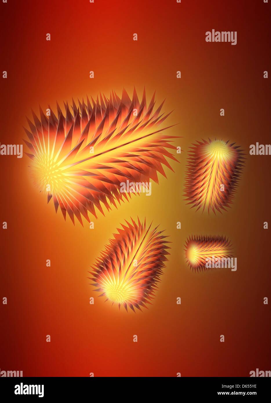 Virus particles, conceptual artwork - Stock Image