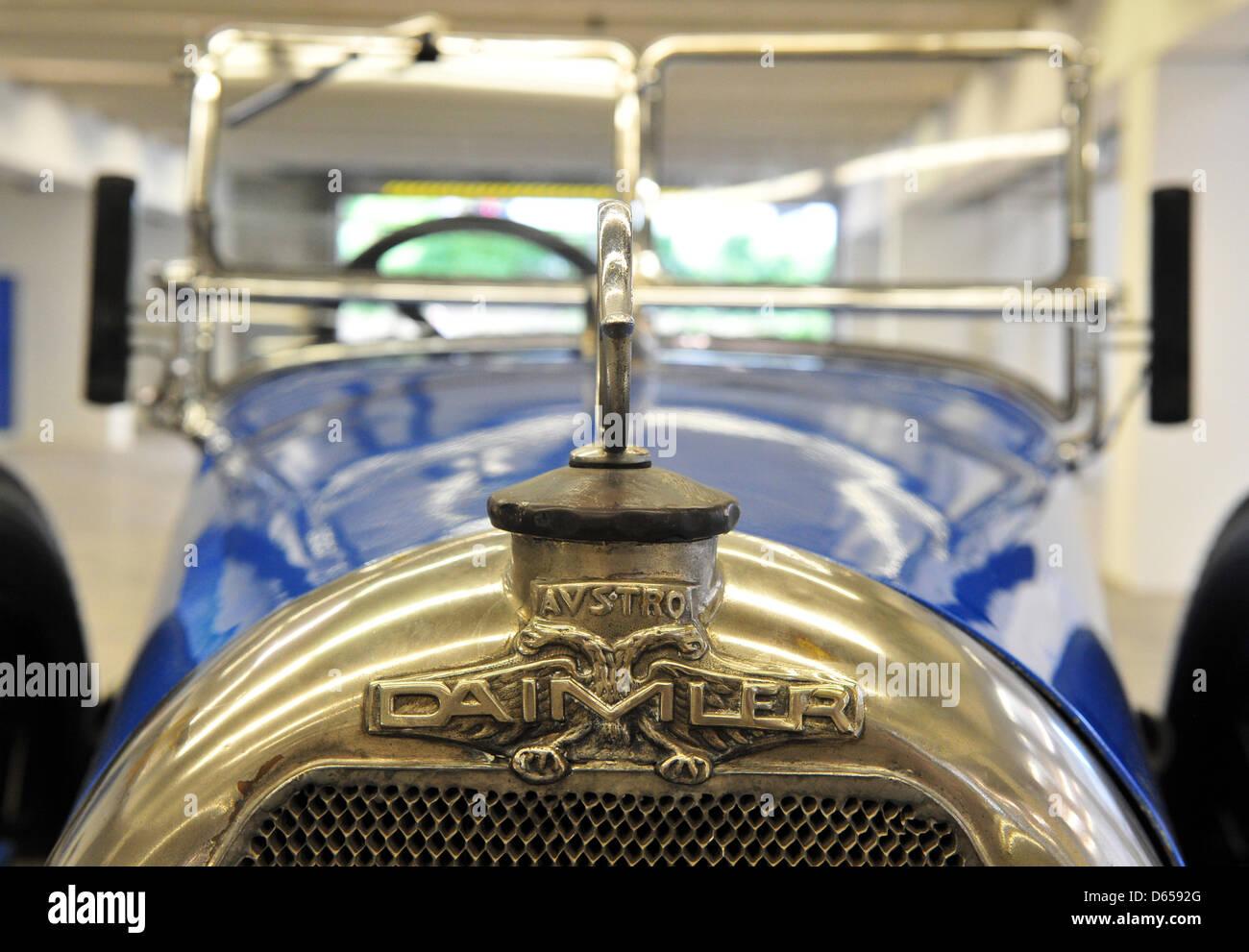 The radiator mascot of an Austro Daimler ADM I Phaeton is pictured in a storehouse in Kallenberg near Stuttgart, Stock Photo