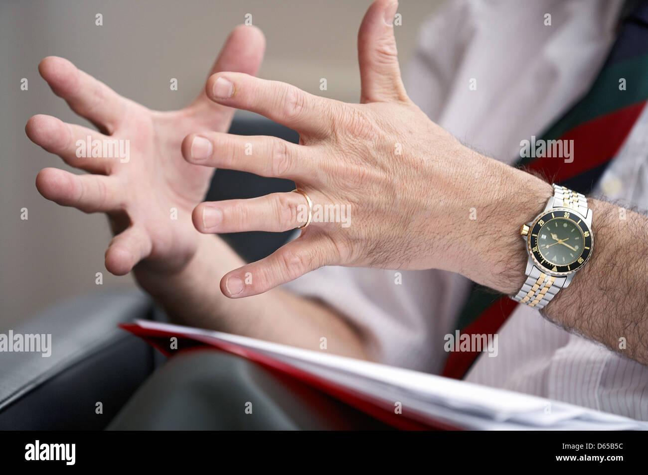 man,business,gesturing - Stock Image