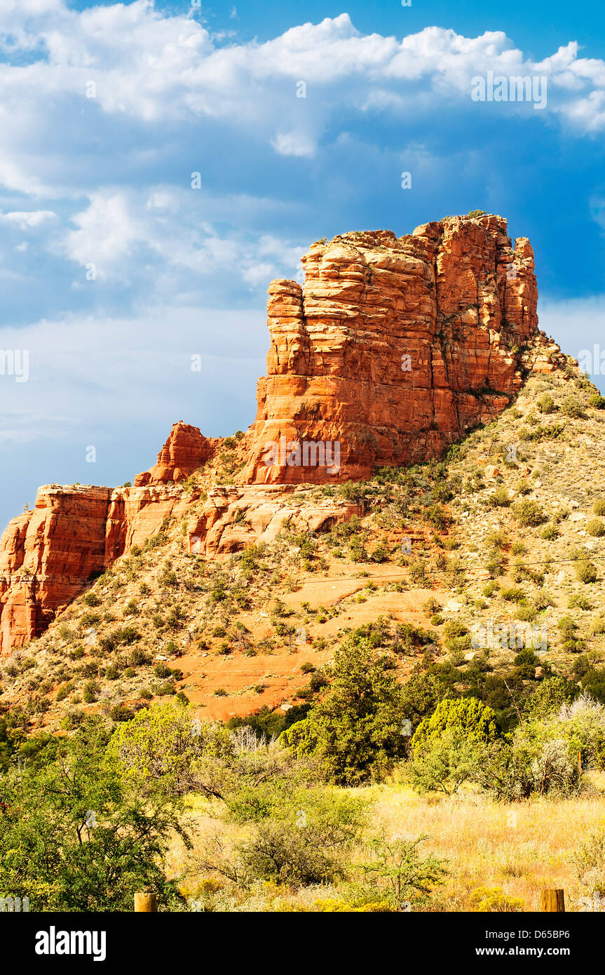 famous bell rock and Courthouse Butte in Sedona, Arizona, USA - Stock Image