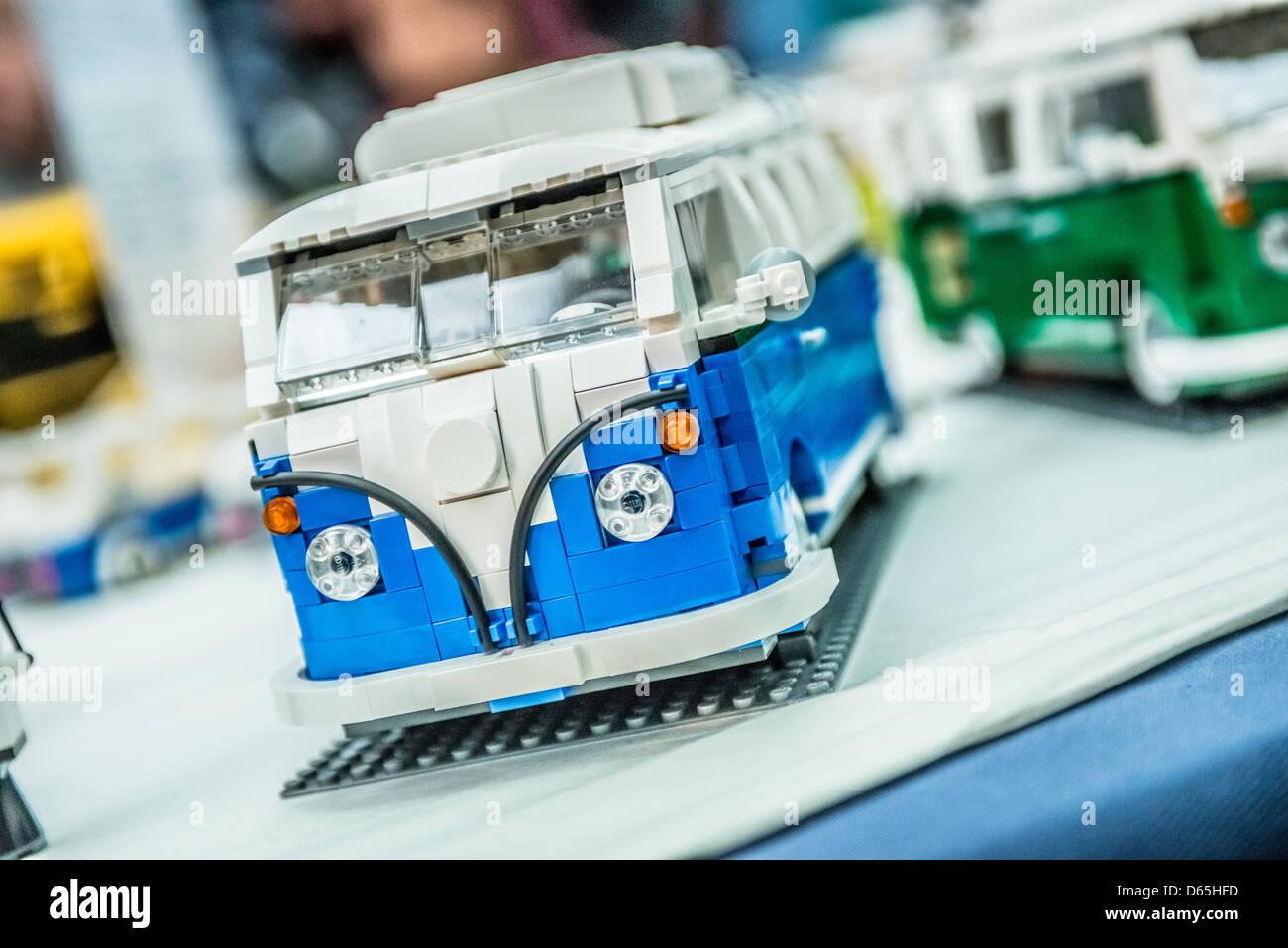 A Lego brick model of VW Camper Van - Stock Image