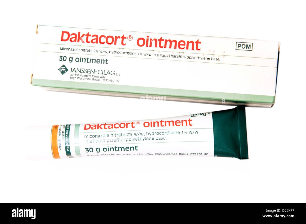 Daktacort ointment (miconazole nitrate) hydrocortisone steroid cream to treat inflamed conditions eczema dermatitis Stock Photo