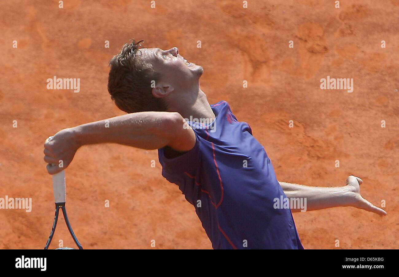 TOMAS BERDYCH PRACTICES CZECH REP (UK USE ONLY) MONTE CARLO  FRANCE 10 April 2013 - Stock Image