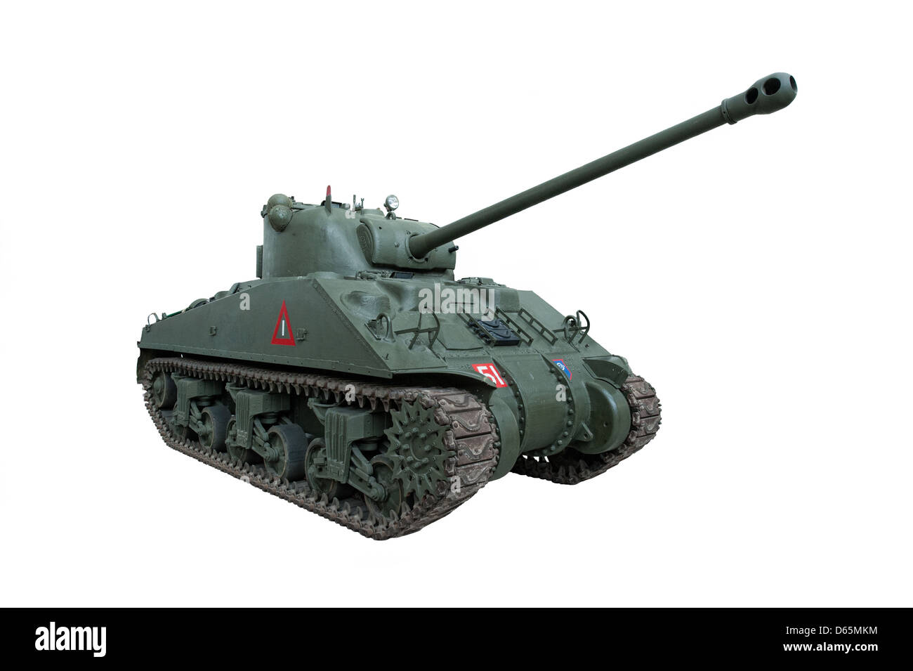 A cut out of an American Sherman 'Firefly'Tank, isolated. Used by US & allied forces during WW2 - Stock Image