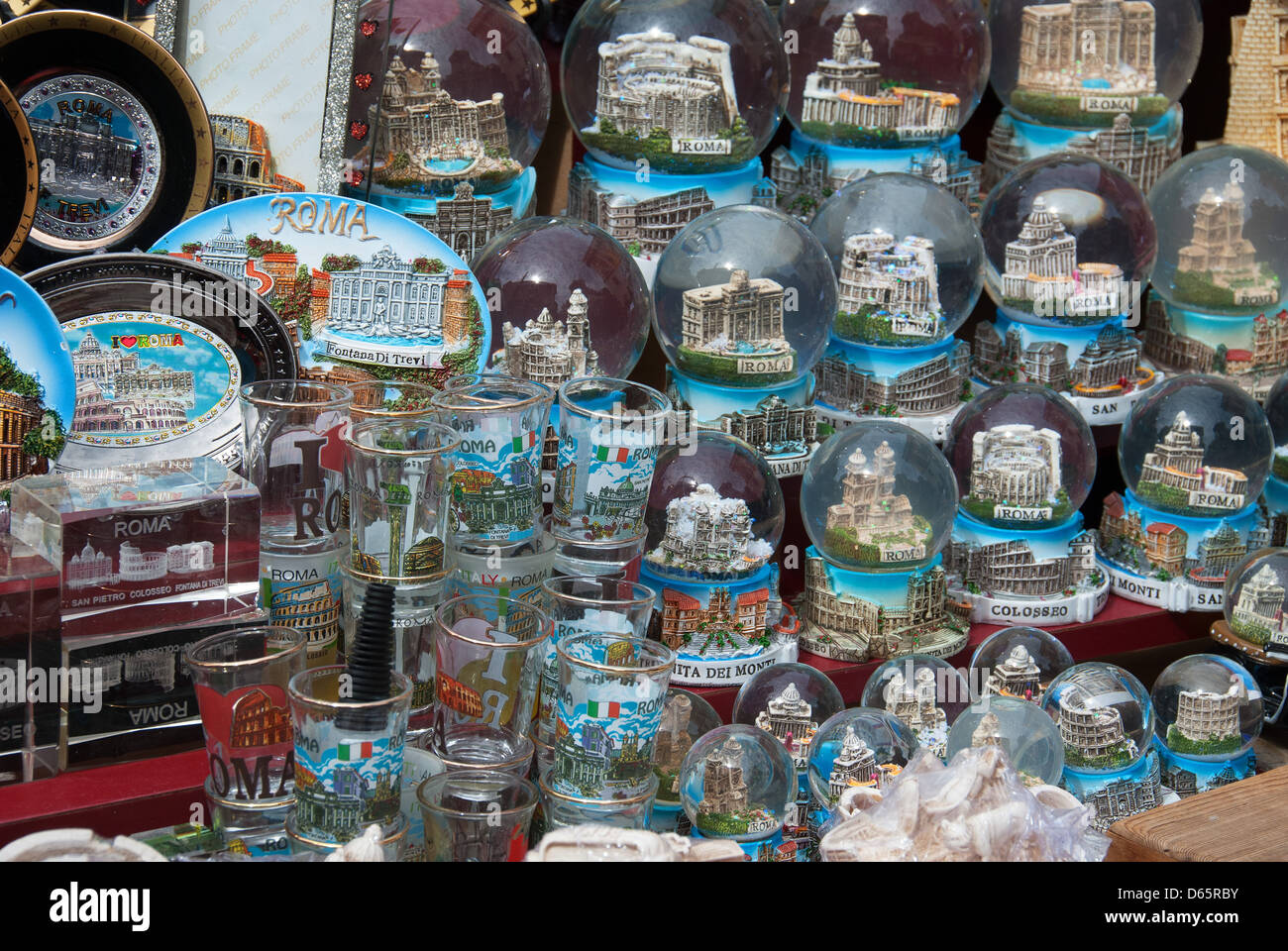 Rome Italy Snow Globes And Other Souvenirs For Sale At A
