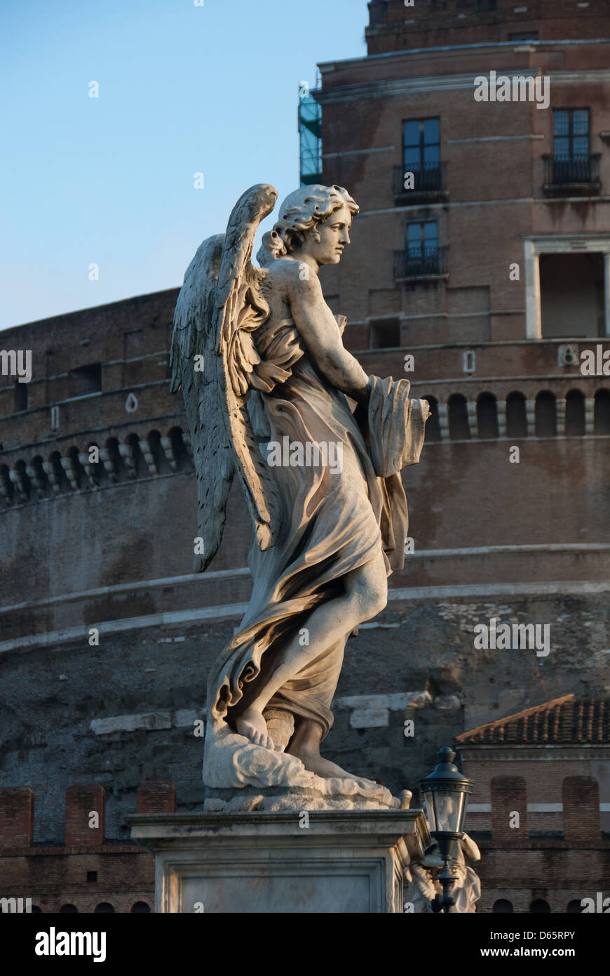 ROME, ITALY. One of Bernini's stone angels on the Ponte Sant' Angelo. 2013. - Stock Image