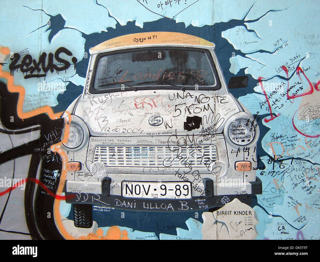 trabant,gdr,fall of the berlin wall,east side gallery Stock Photo