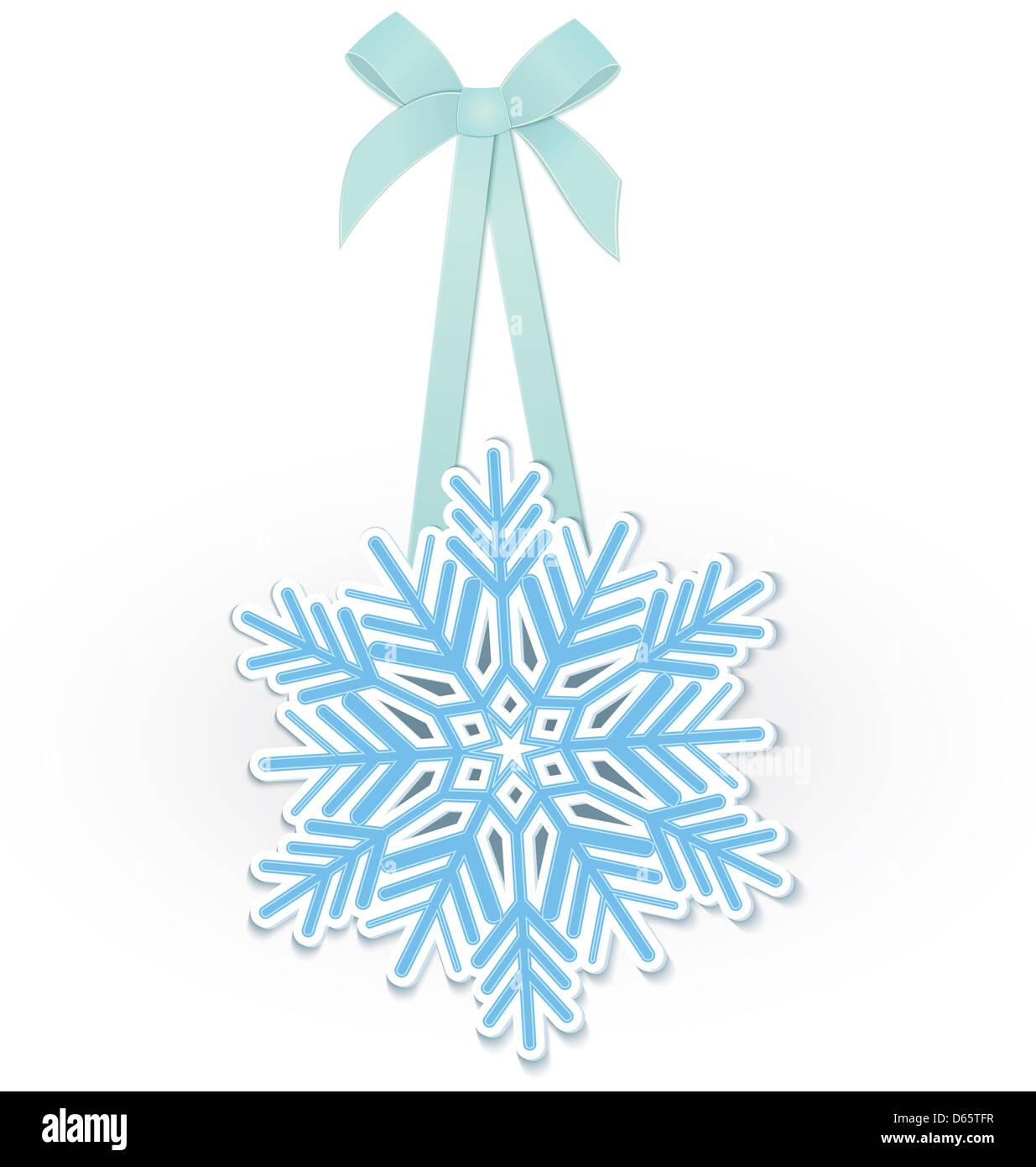 Snowflake on ribbon - Stock Image