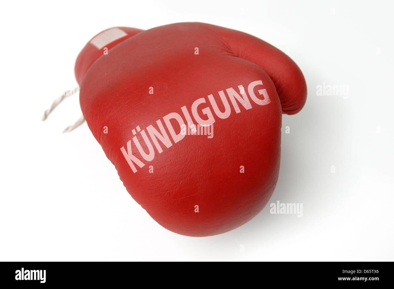 job,profession,workplace,cancelation,boxing glove - Stock Image