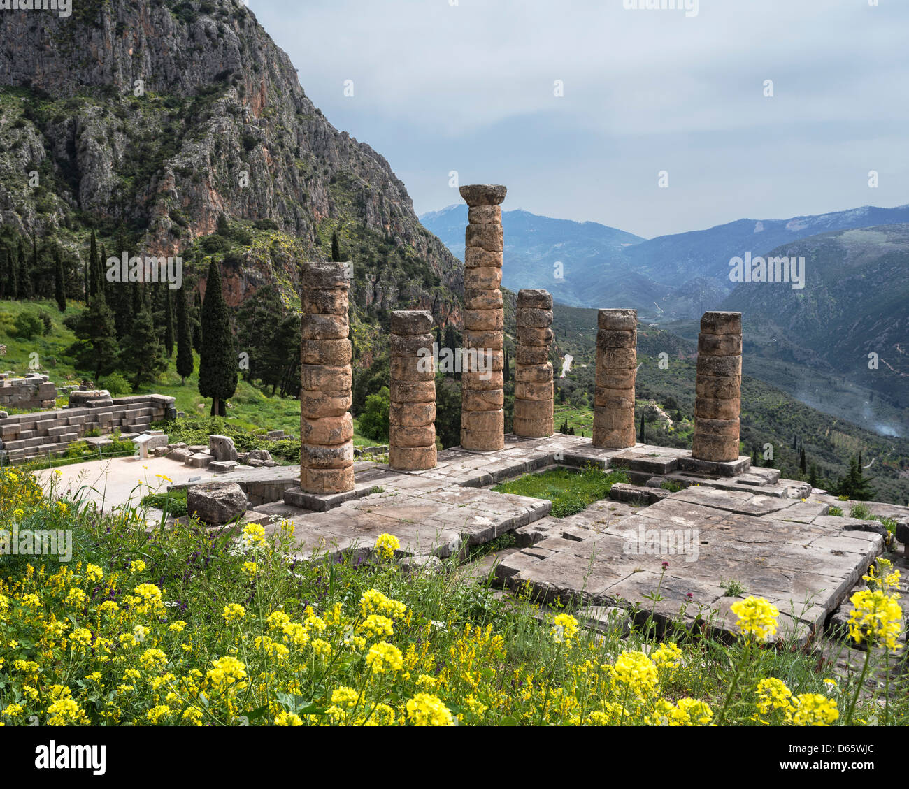 Looking down on the Temple of Apollo at the ancient site of Delphi in Thessaly, Central Greece Stock Photo