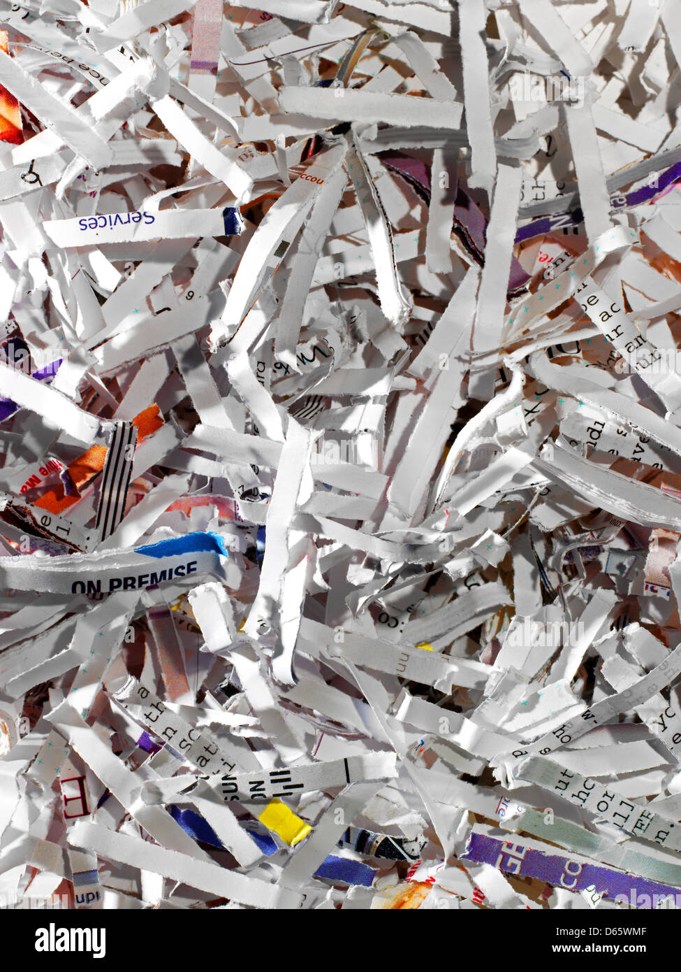 Close up of shredded paper shot straight down with high detail. - Stock Image