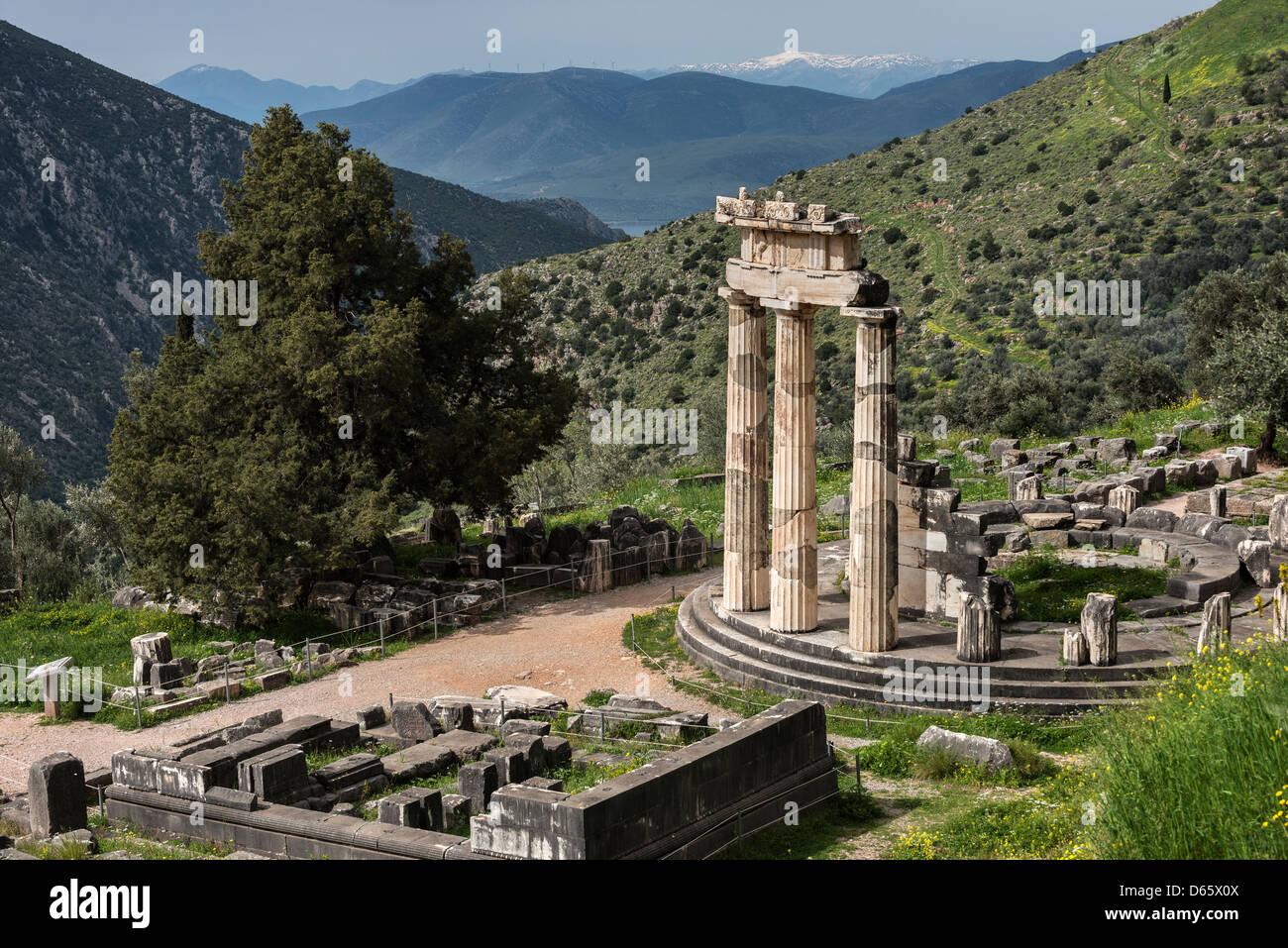 The circular Tholos at the Temple of Athena Pronaia, Ancient Delphi, Thessaly, Greece. Stock Photo