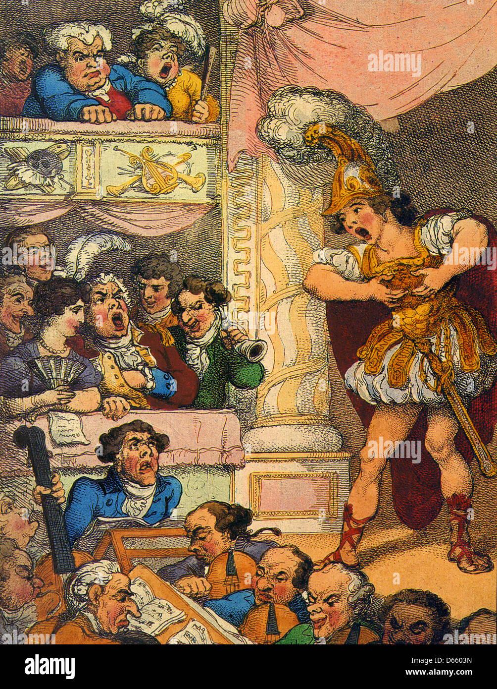 JOHN BULL AT THE ITALIAN OPERA Cartoon by Thomas Rowlandson about 1770 - Stock Image