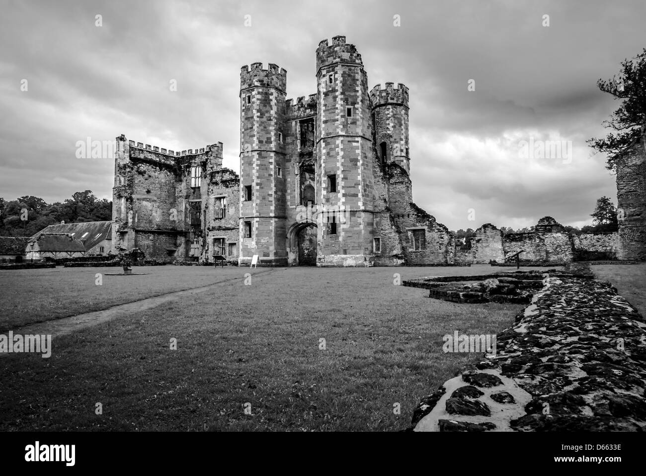 Black and White of Cowdray Castle in Midhurst, West Sussex, UK - Stock Image