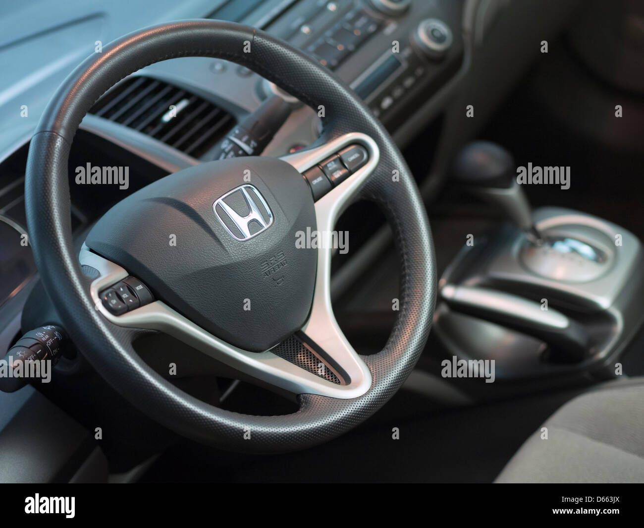 Honda Civic Hybrid Interior With Steering Wheel And Automatic Gearbox Lever    Stock Image