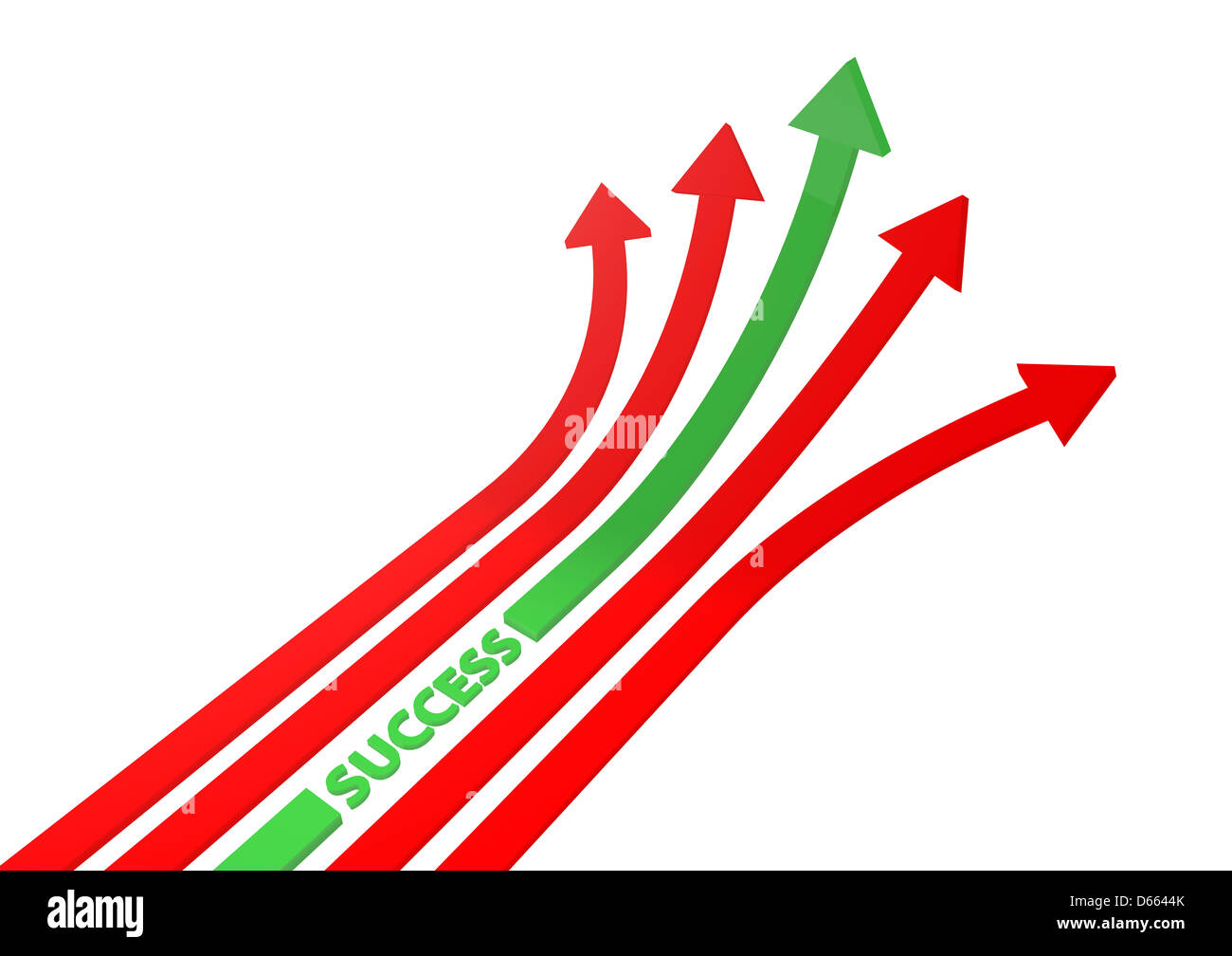 Red and green arrows 3D illustration - Stock Image