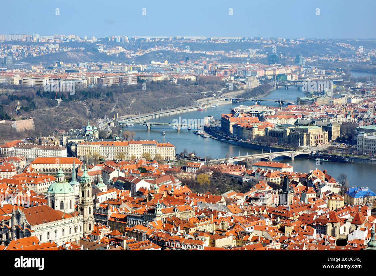 beautiful view of Prague and Vltava river from the Castle, Hradcany - Stock Image