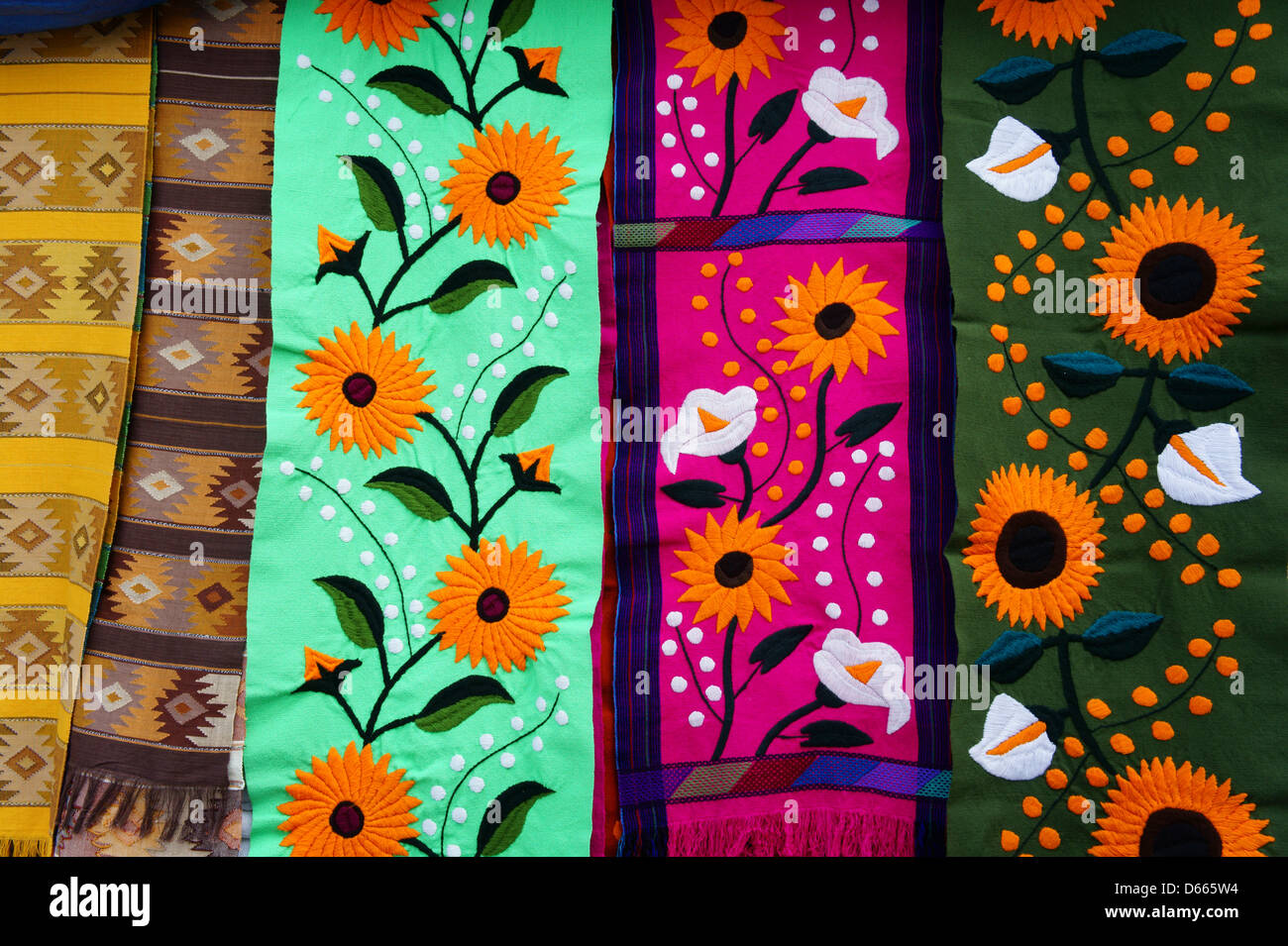 Colorful Table Runners In Mercado 28 Souvenirs And Handicrafts Market In  Cancun, Mexico