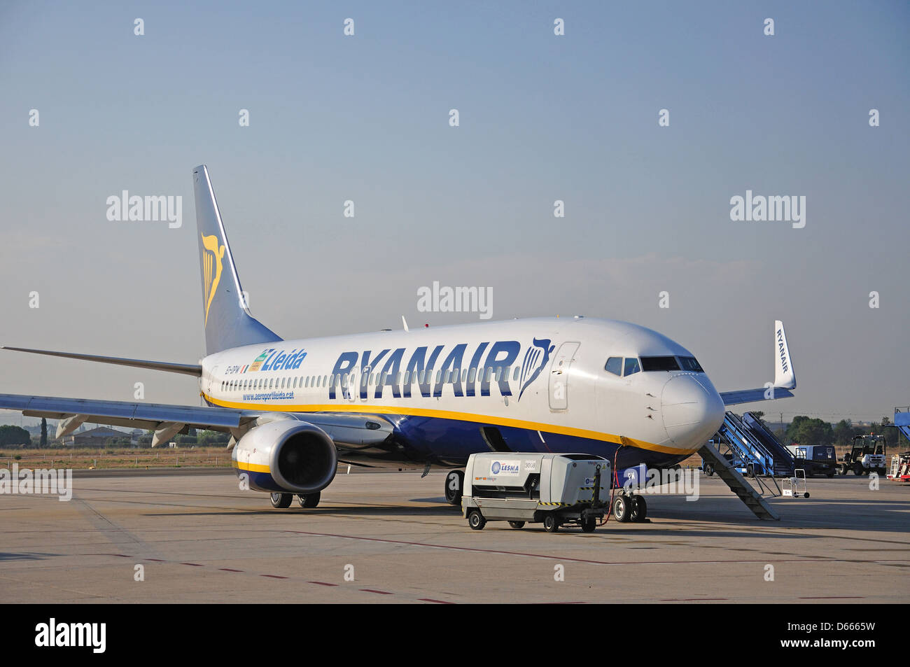 Ryanair Boeing 737-8AS aircraft on tarmac, Lleida-Alguaire Airport, Lleida, Catalonia, Spain - Stock Image