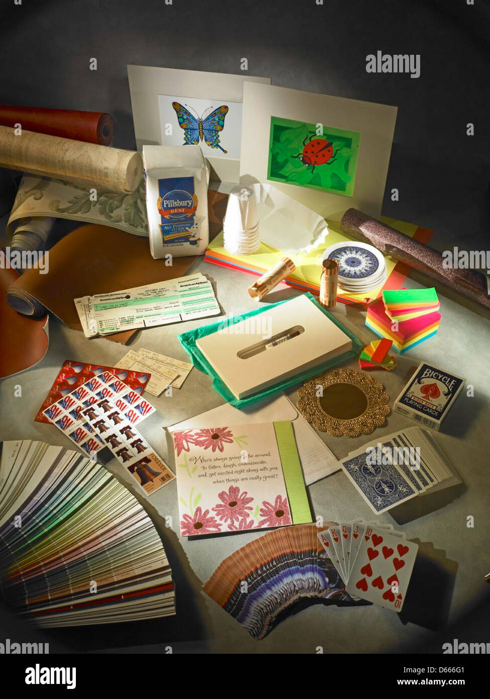 Still life, assorted paper products. Stock Photo