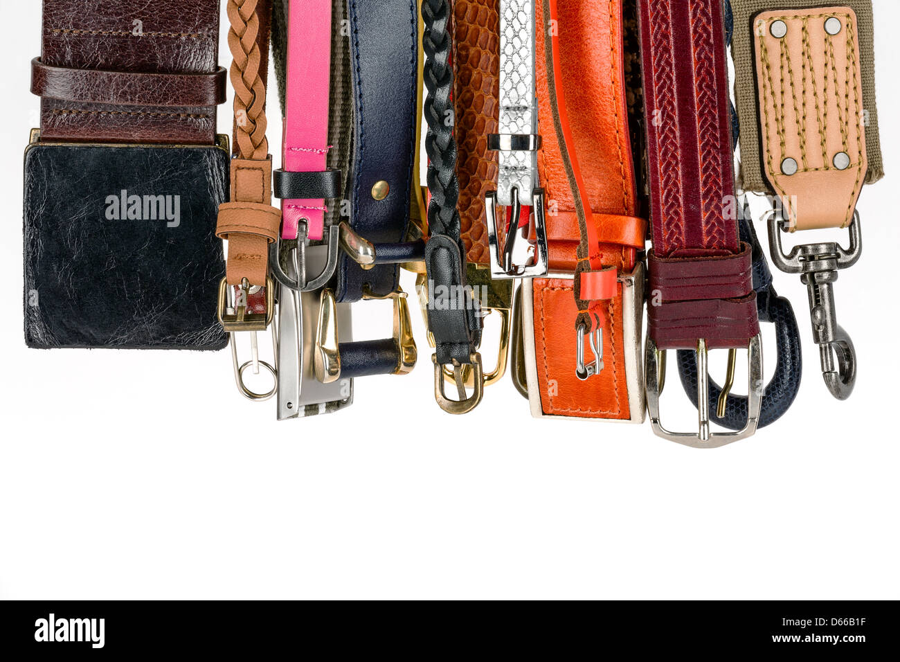 Various belts hanging - Stock Image