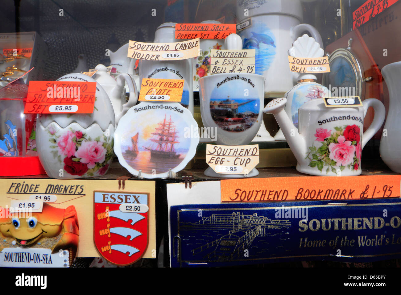 Souvenirs of Southend-on-sea in gift shop window. - Stock Image
