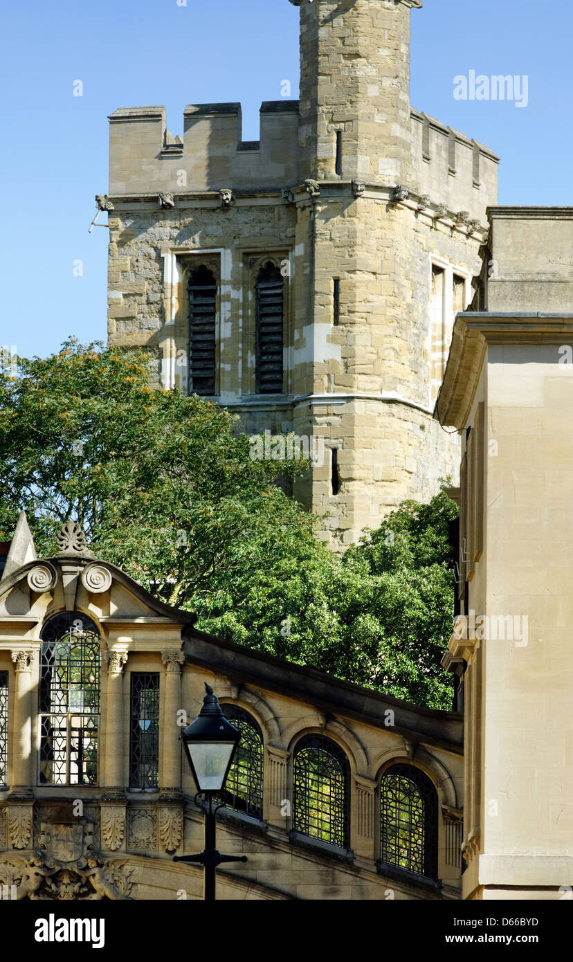 View of New College Bell Tower and Hertford Bridge, University of Oxford - Stock Image