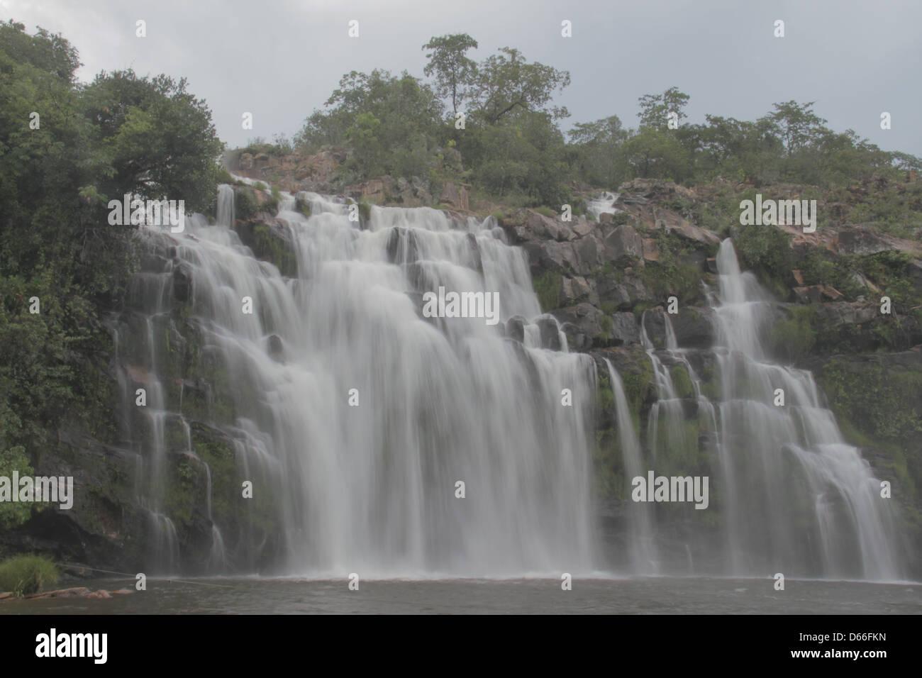 Poço encantado Water falls at the Cerrado , Brazil, Chapada dos Veadeiros - Stock Image