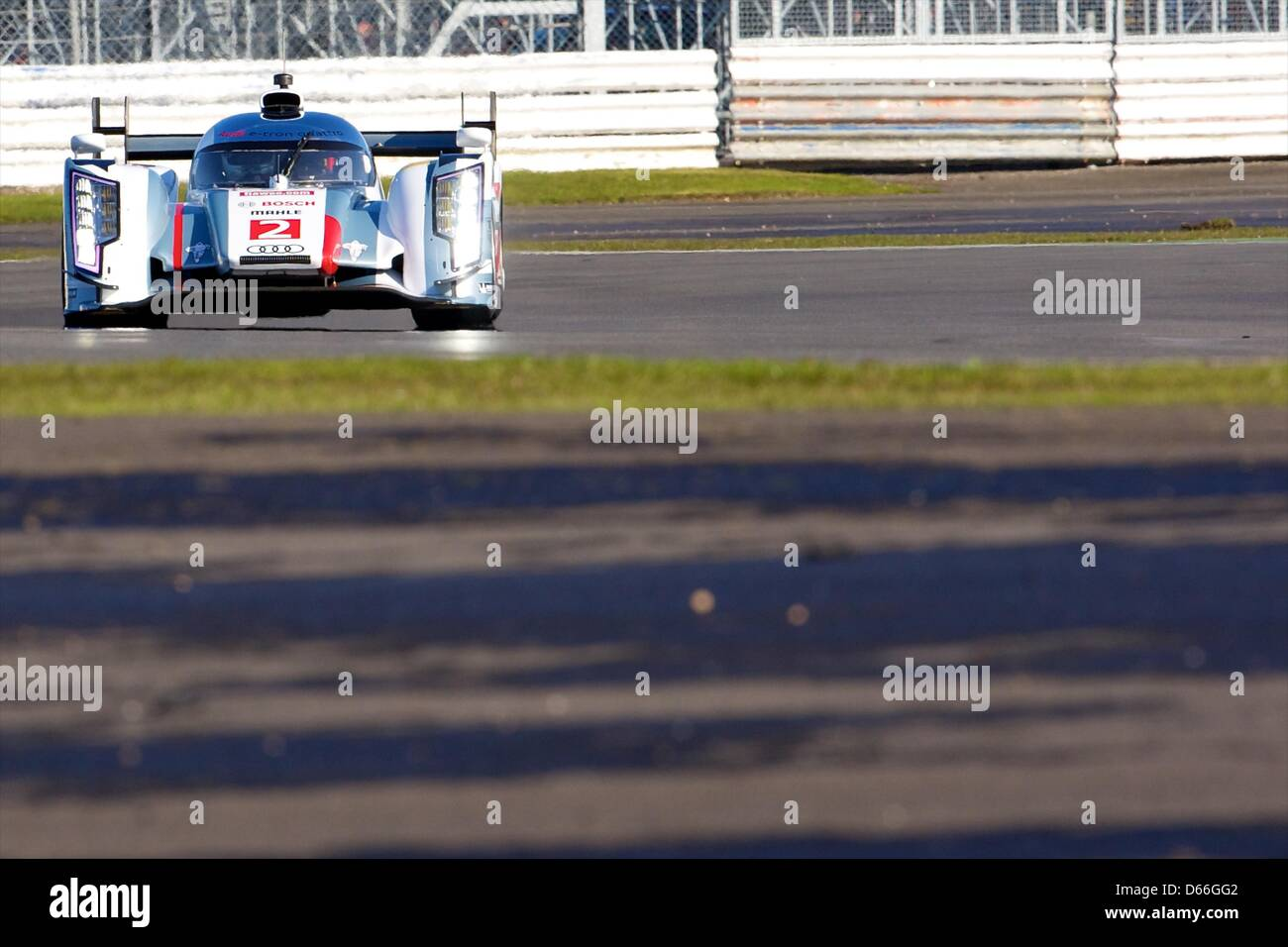 13.04.2013 Silverstone, England. Audi Sport Team Joest LMP1 Audi R18 e-tron quattro driven by Tom Kristensen (DNK), Stock Photo