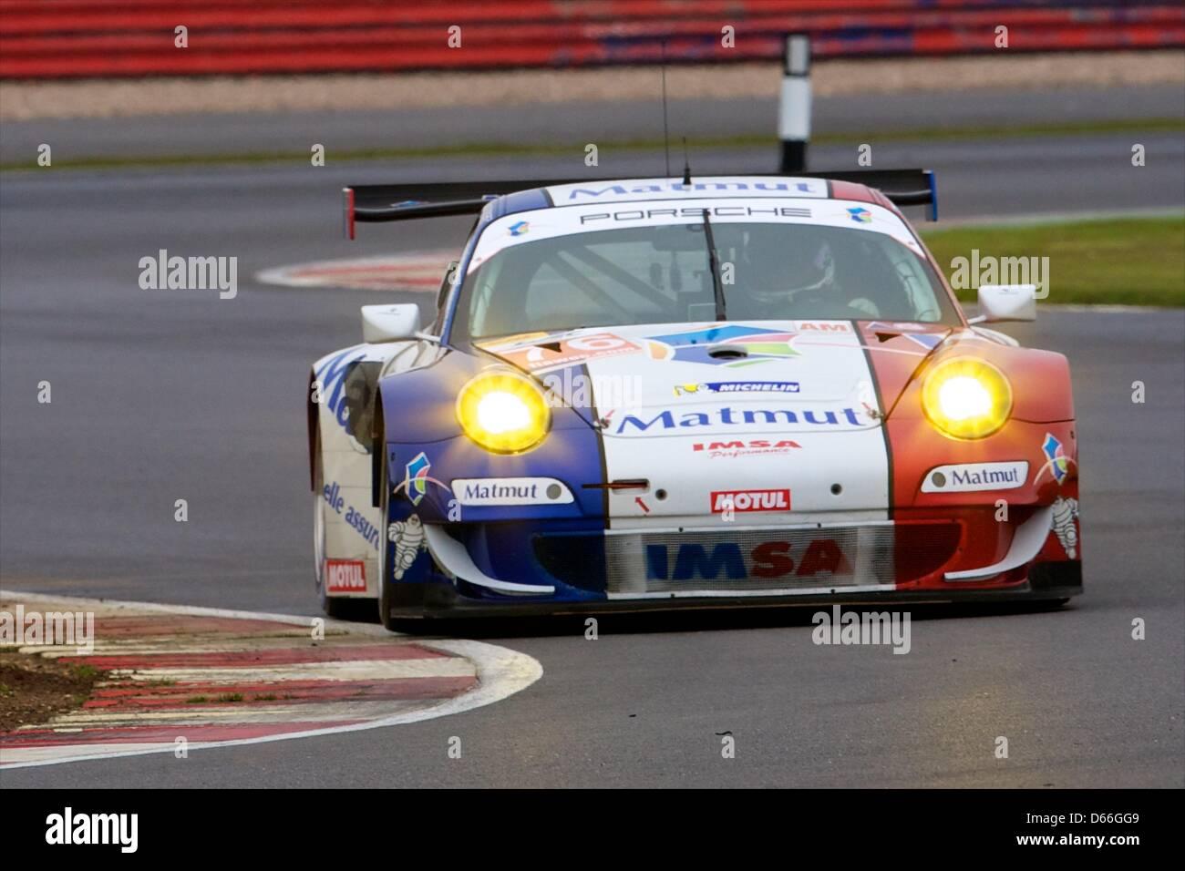 13.04.2013 Silverstone, England. IMSA Performance Matmut LMGTE Am Porsche 911 GT3 RSR driven by Raymond Narac (FRA), Stock Photo