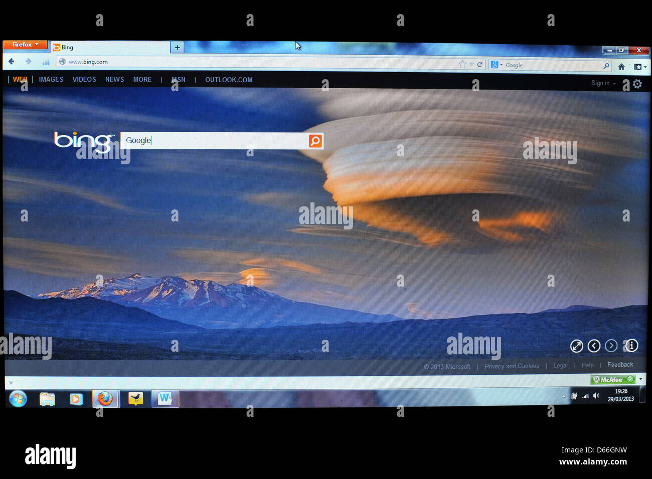 Image of a computer screen showing the Bing search engine homepage. - Stock Image
