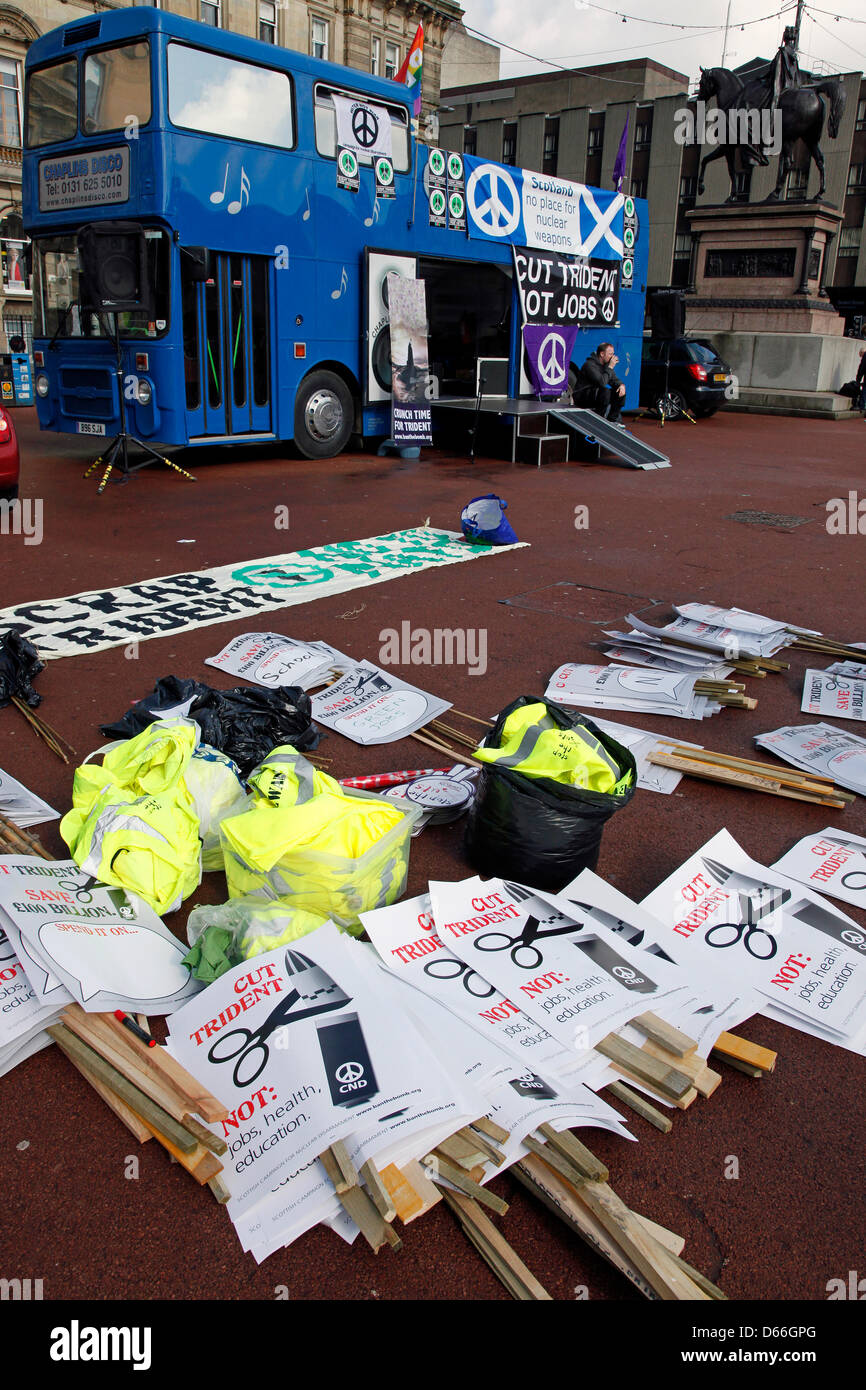 Glasgow, Scotland, United Kingdom  13 April 2013. Anti Nuclear weapons and Anti Trident march and demonstration - Stock Image