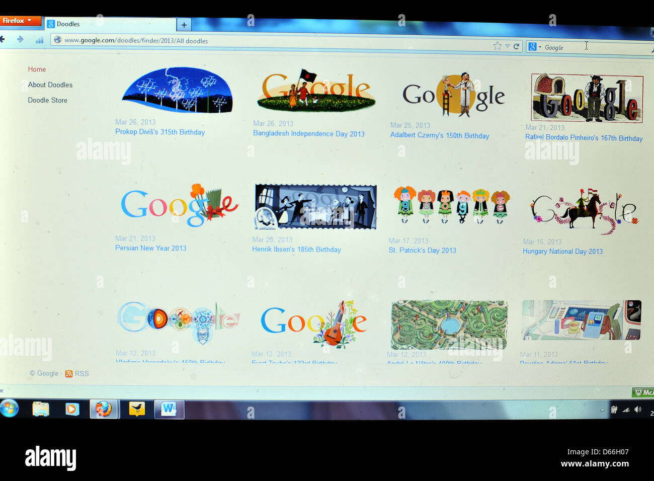 image of a computer screen showing images of different google themes