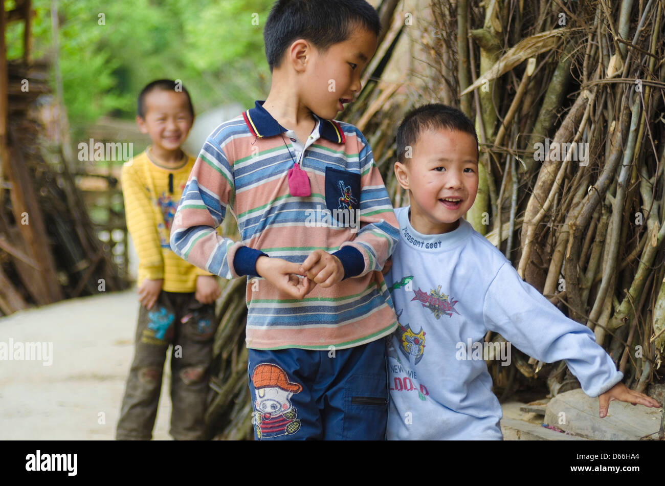 Children in a Dong village in Guizhou, China Stock Photo