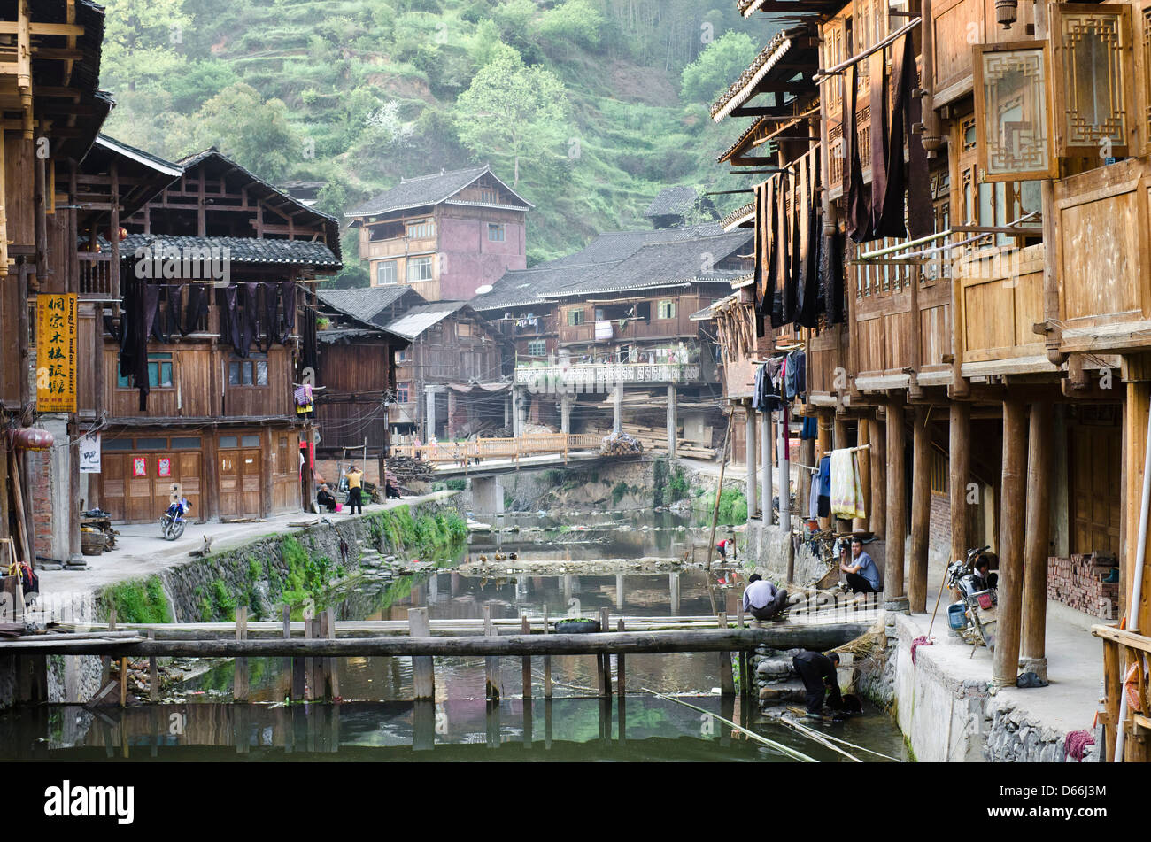 Zhaoxing village and river in the Guizhou province of China Stock Photo