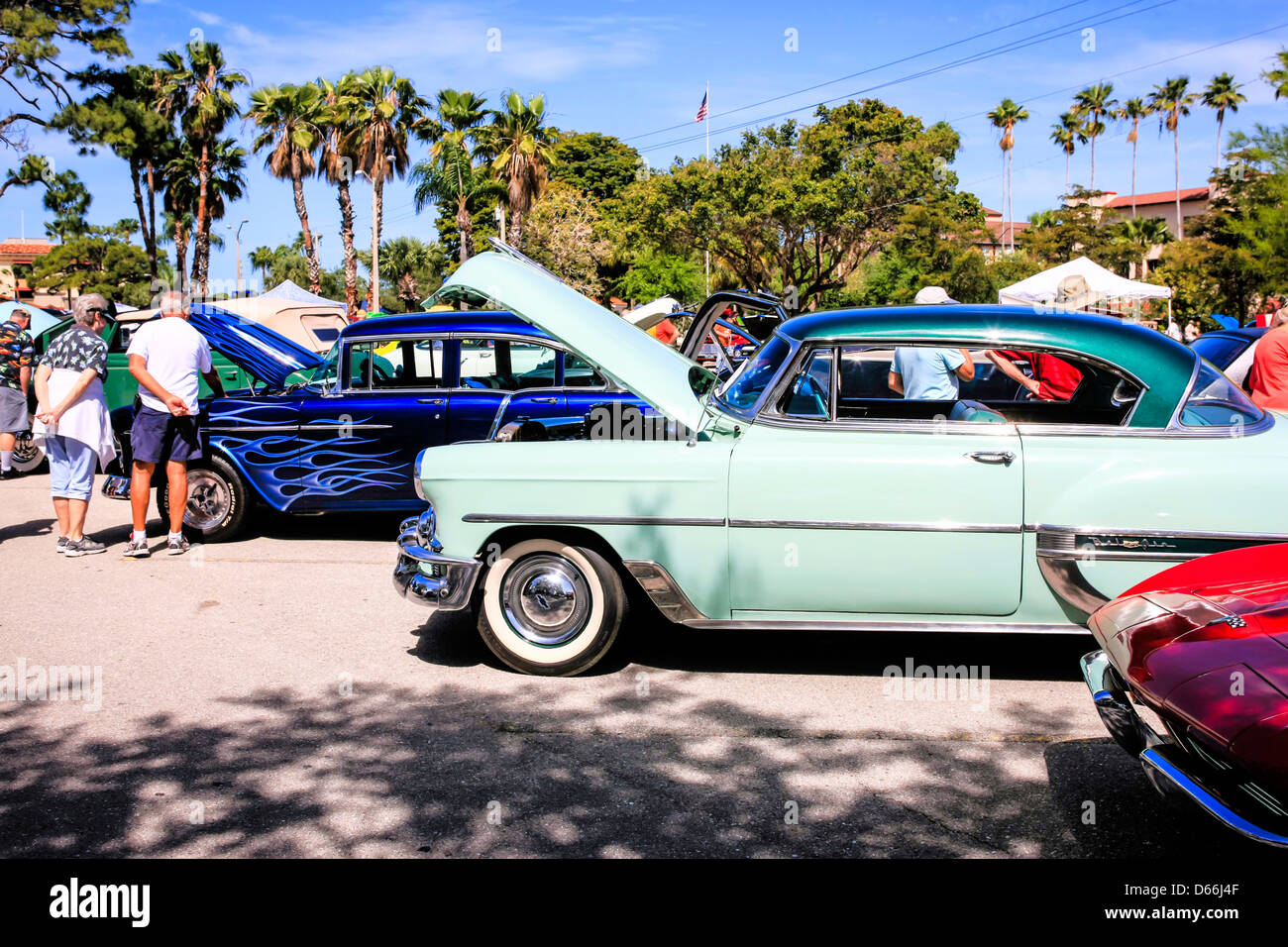 Classic And Custom Car Show In Downtown Venice Florida Stock Photo - Car show venice florida