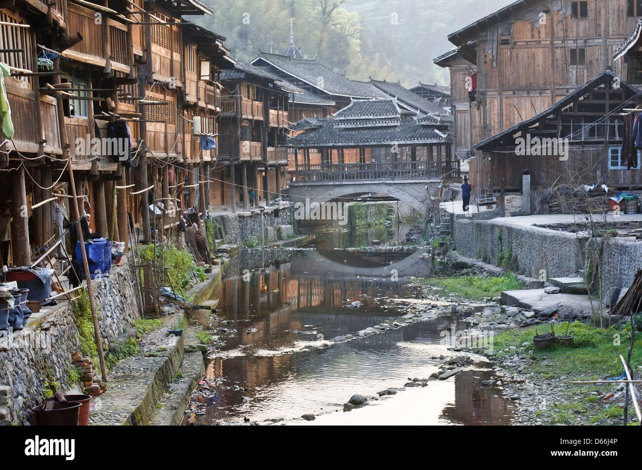 Zhaoxing village in the Guizhou province of China Stock Photo