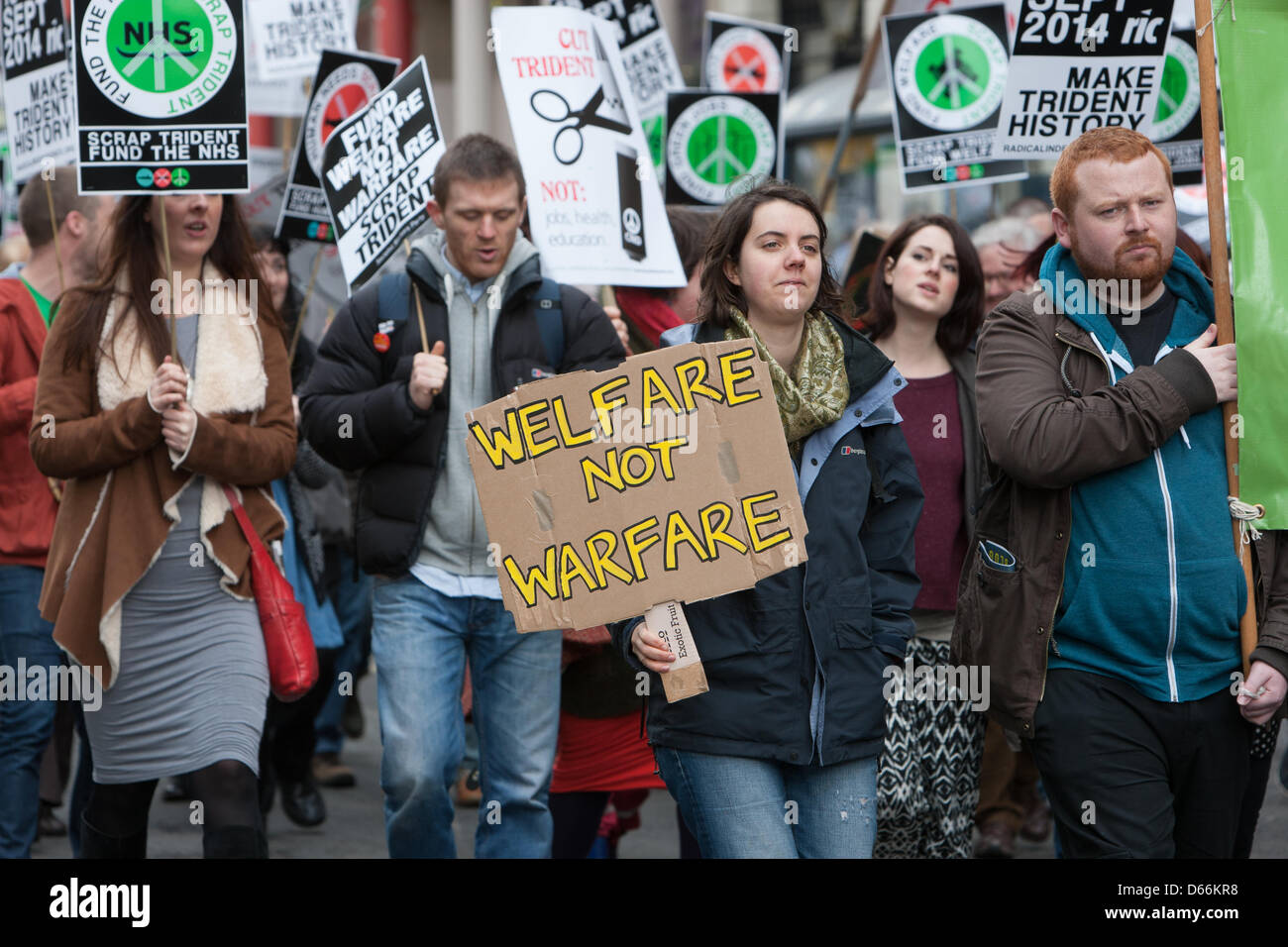 Glasgow, Scotland. Saturday 13th April 2013.  Scrap Trident nuclear missiles demonstration, in George Square and - Stock Image