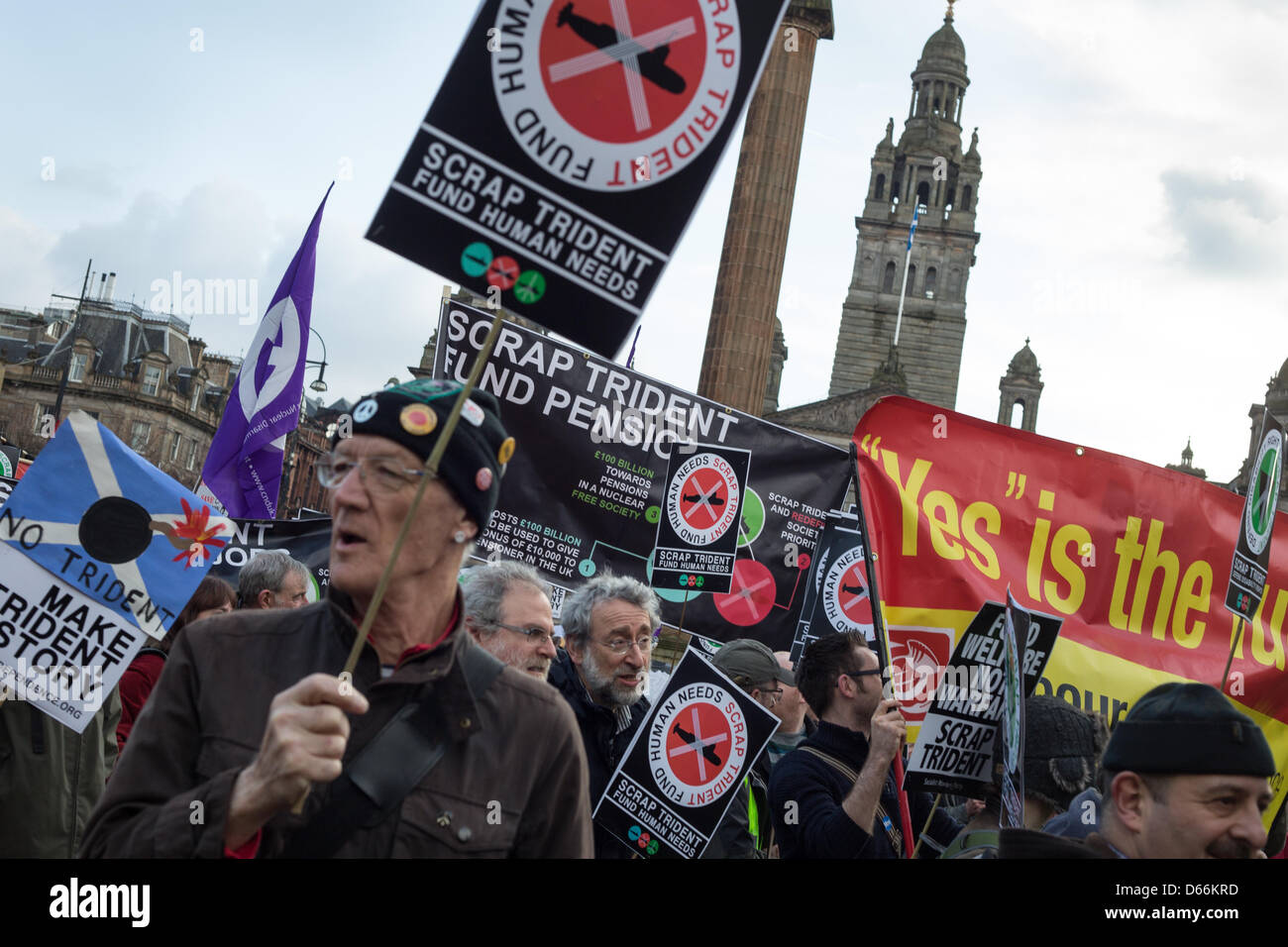 Glasgow, Scotland. Saturday 13th April 2013.  Scrap Trident nuclear missiles demonstration, in George Square and Stock Photo