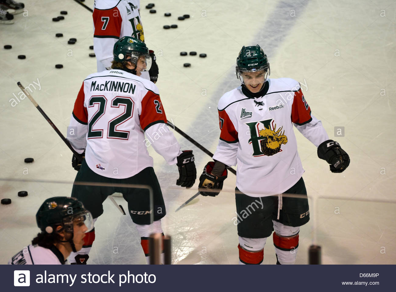 Top 3 NHL draft prospects Nathan MacKinnon of the Halifax Mooseheads talks to Jonathan Drouin during warm-up - Stock Image