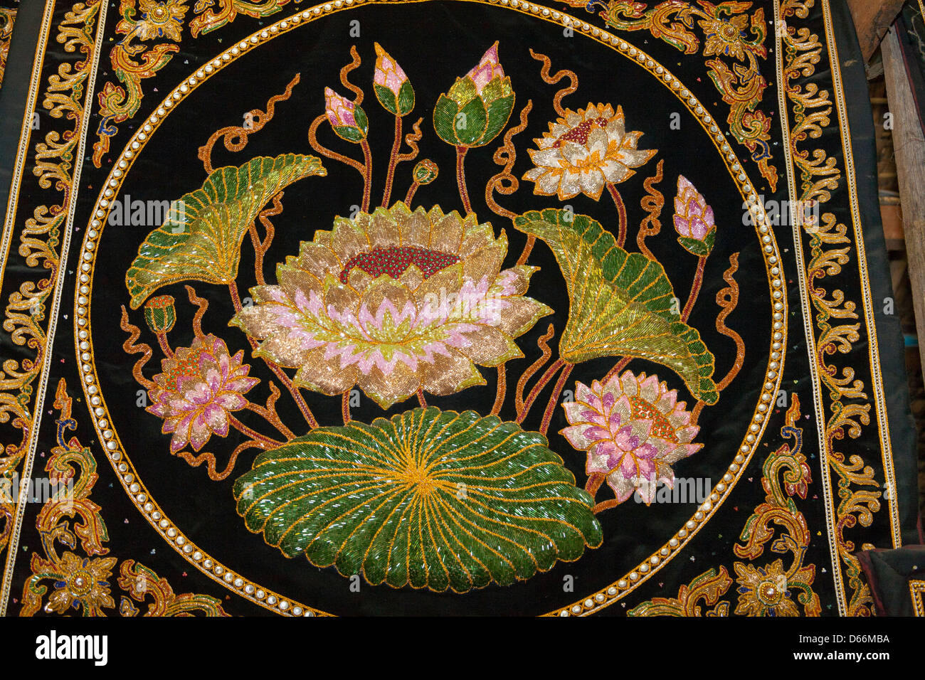 Embroidered Fabric Depicting Lotus Flowers Mandalay Myanmar Stock