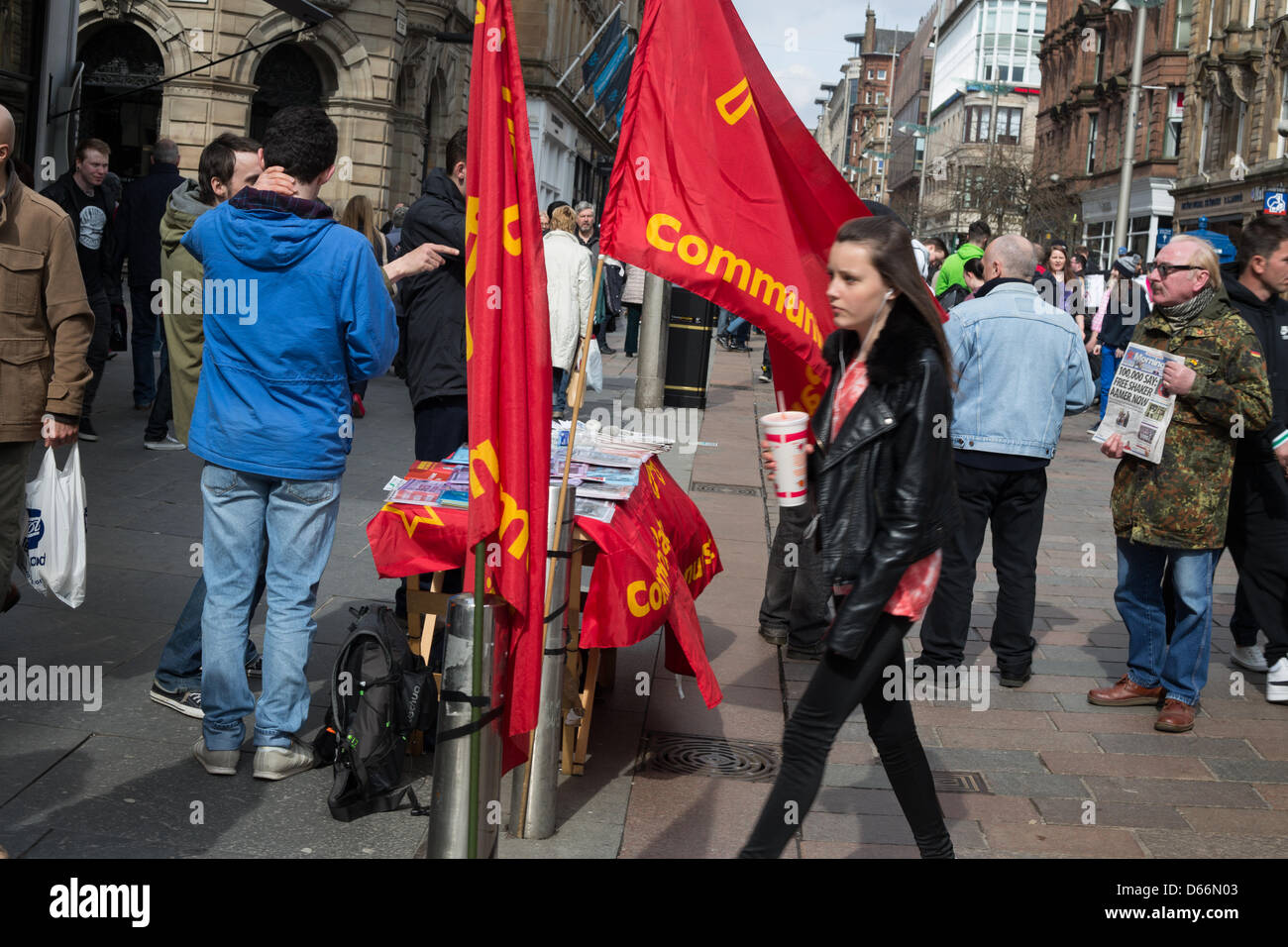 Communist Part canvasing for support in Glasgow, Scotland, on Saturday 13th April 2013. - Stock Image