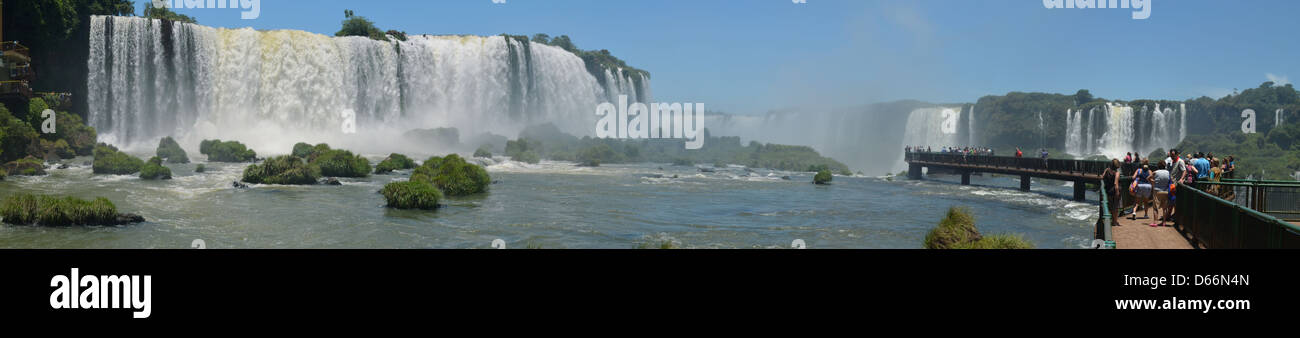 Iguazu falls seen from the Brazilian side at the Devils Throat walkway. - Stock Image