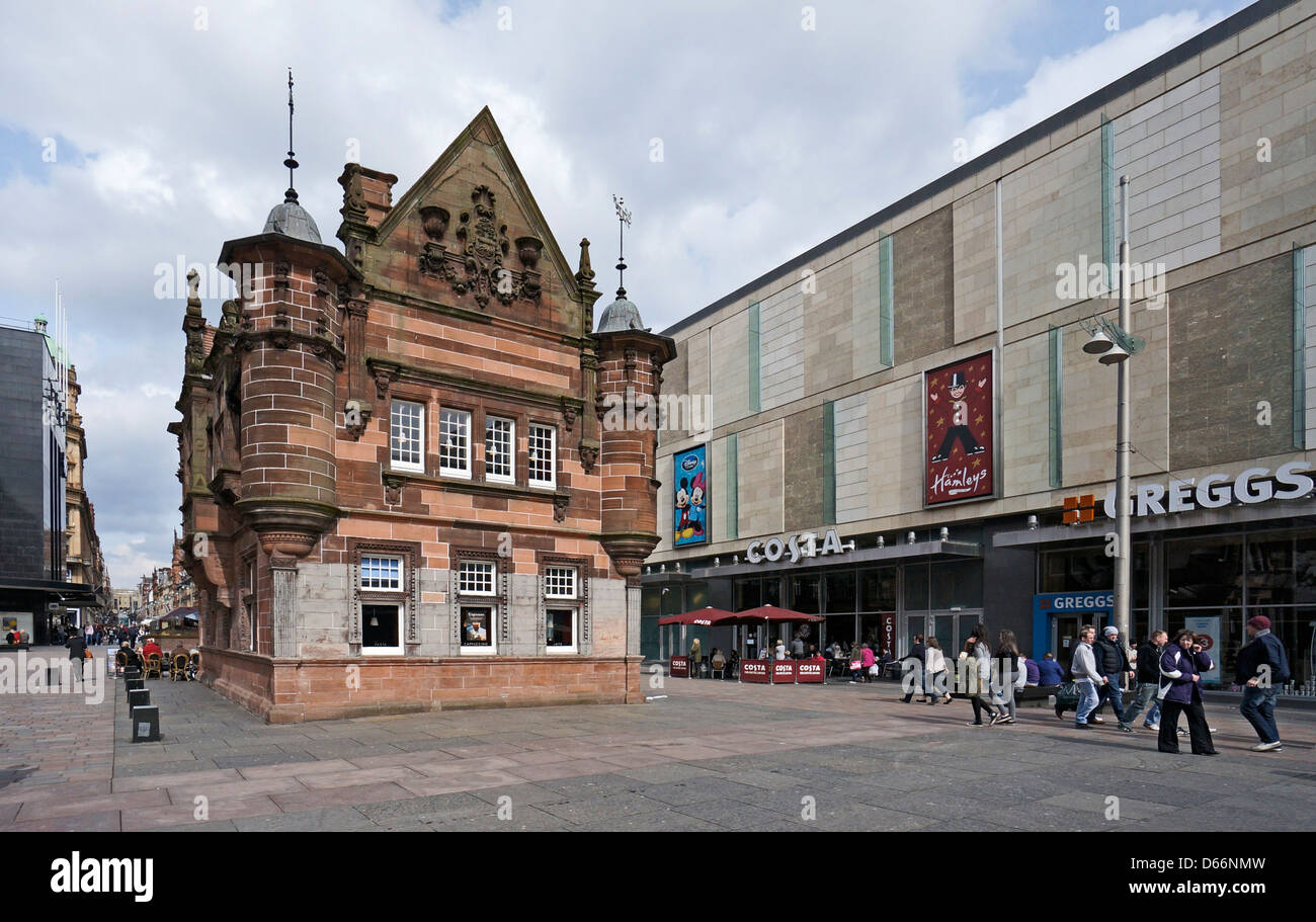 The old Glasgow Subway entrance and St Enoch Shopping Centre at St Enoch Square in Glasgow Scotland - Stock Image