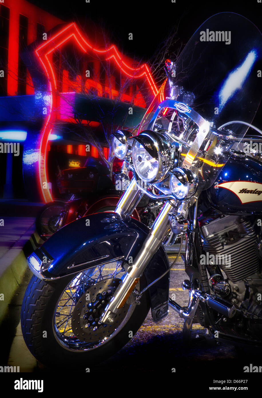 Motorcycle Parking at the Route 66 Casino Albuquerque New Mexico - Stock Image