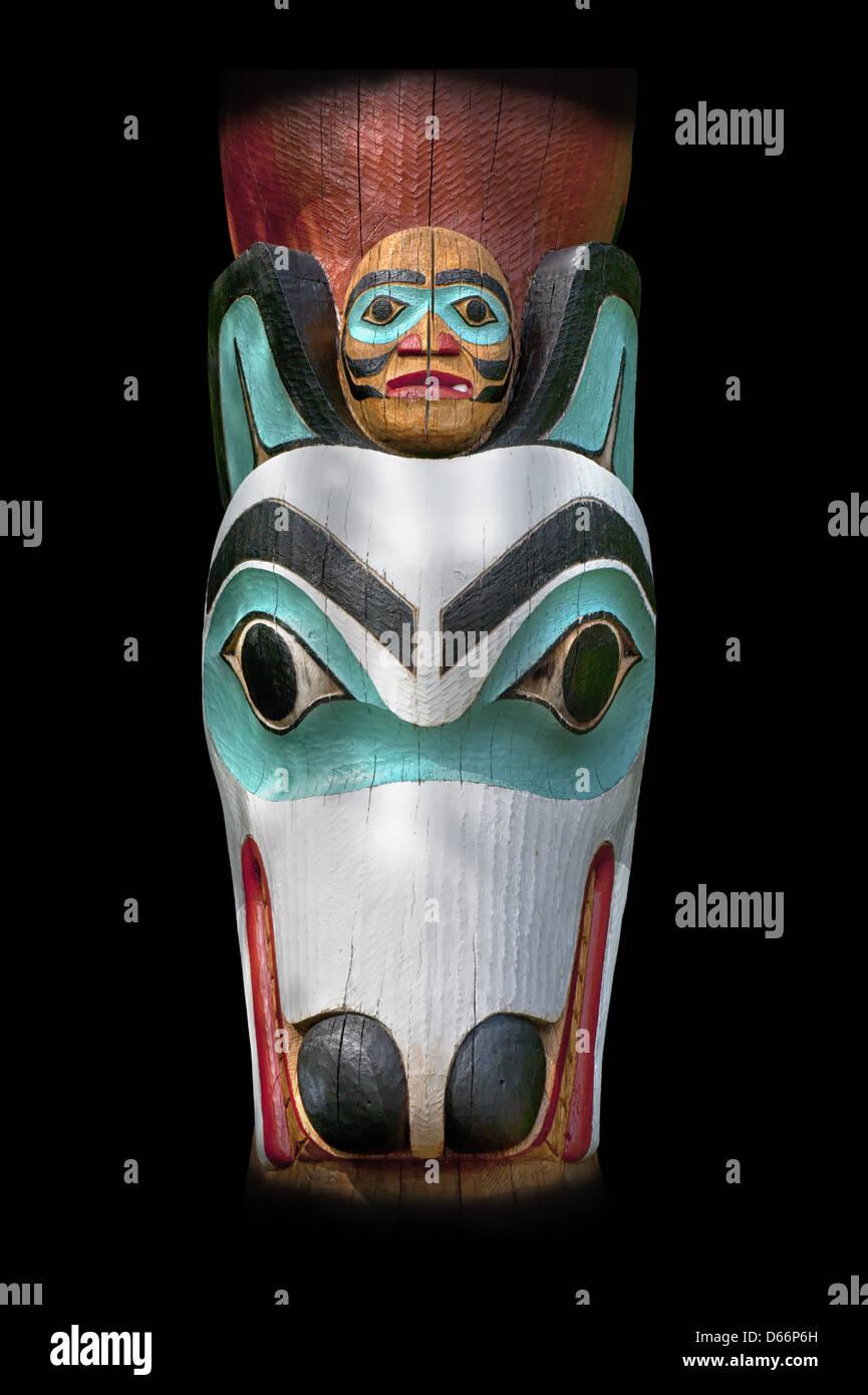 Wolf Totem at the Saxman Village Kechikan Alaska - Stock Image