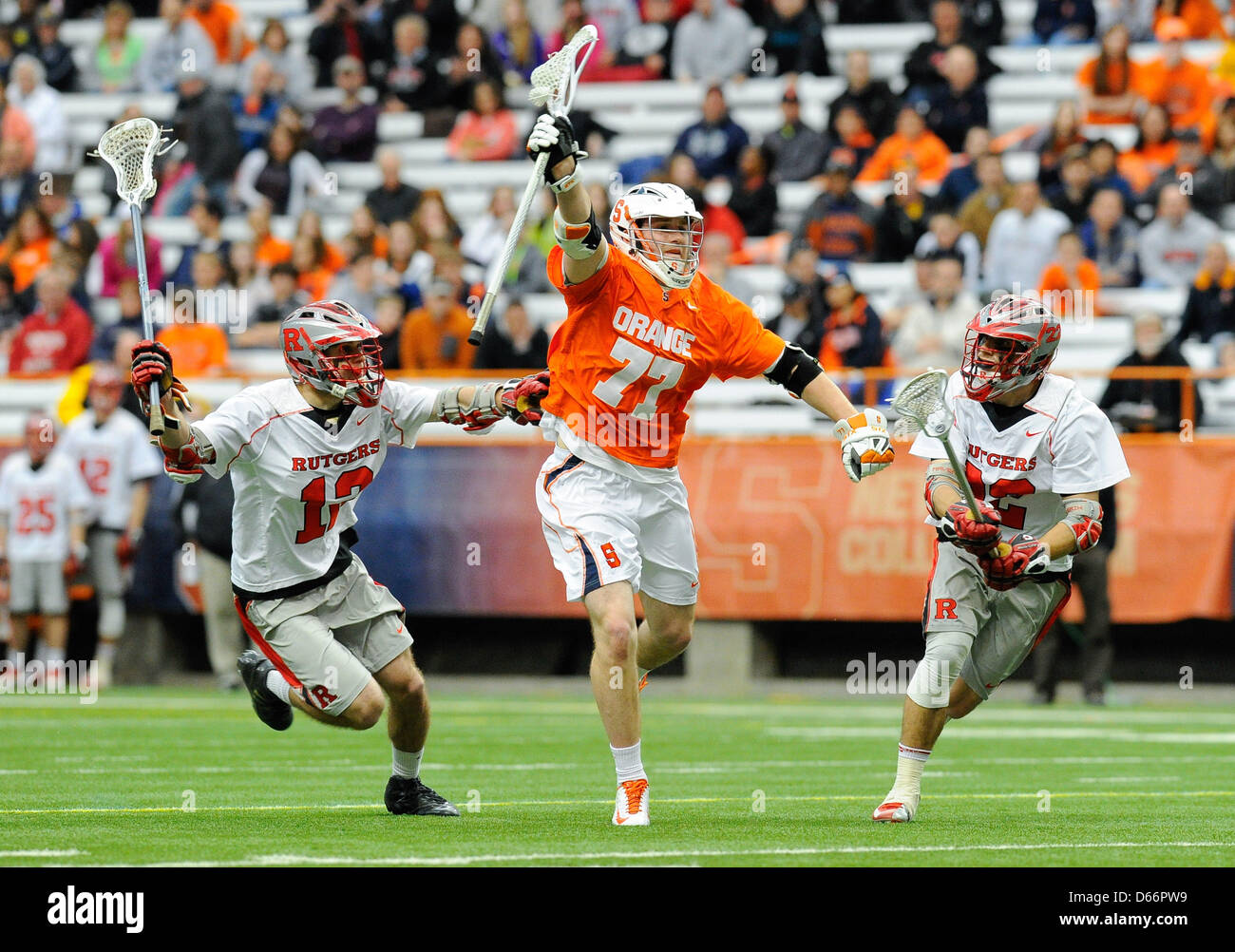 April 13, 2013 - Syracuse, New York, USA - April 13, 2013: Syracuse Orange midfielder Henry Schoonmaker #77 runs - Stock Image