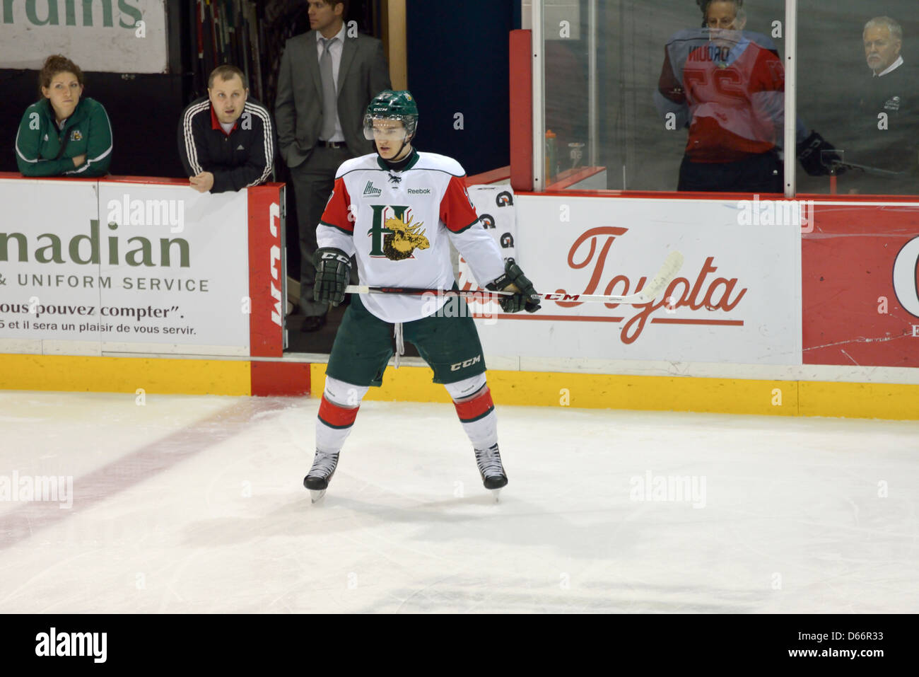 Jonathan Drouin, currently ranked 3 for the upcoming NHL draft, in warm-up of his Halifax Mooseheads game Apr 10, - Stock Image
