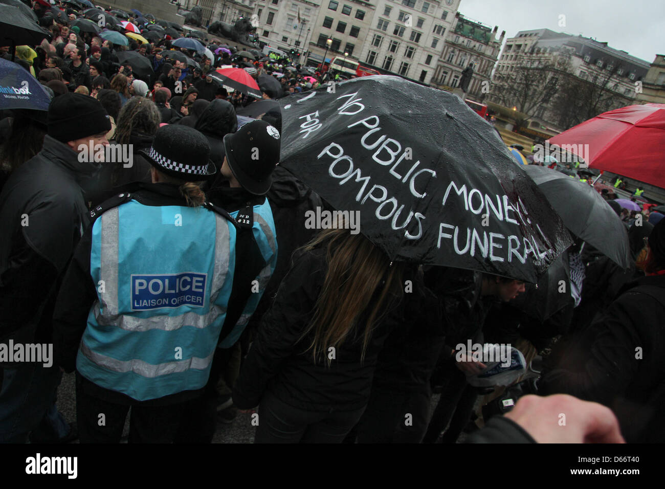 London, UK. 13 April 2013. Students, socialists and anarchists marked former prime minister's death by a demonstration - Stock Image